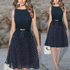 Womens Vintage Celeb Belted Polka Dot Party Wear To Work Chiffon Tunic Dress New