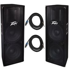 "Peavey (2) PV215 Dual 15"" 2800w PA DJ Speakers + 1/4"" to Speakon Speaker Cable"