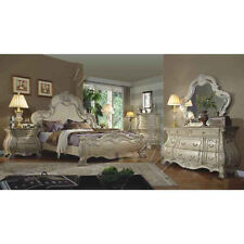 Rococco French Queen Sleigh Bedroom Intricate Carvings Antique White Bed
