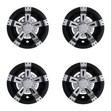 "Set of 4 Universal Golf Cart Hub Cap Wheel Cover, 8"" Vegas Chrome / Black"