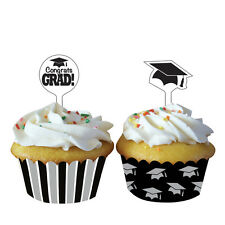 Graduation Mortar Board Cupcake Wrappers & Cake Toppers Grad Cake Decorations