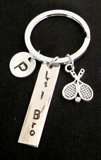Tennis KeyChain Personalized Tennis Keyring,Initial charm,Monogram Sports Gift