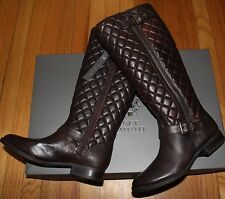 $249 VINCE CAMUTO DARK BROWN QUILTED WIDE CALF  LEATHER TALL BOOTS SZ 7.5