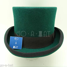 Wool Felt Topper Top Hat Men Tuxedo Victorian | 59cm | Green | VINTAGE x FORMAL