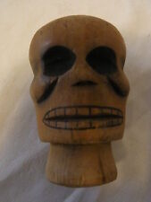 Vintage German Carved Wood Hand Puppet Head Dead #Q