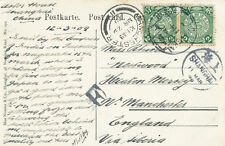 China Shanghai & Manchester Postmarks 1909 Two Green Dragon Stamps The Bund