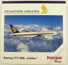 NEW HERPA WINGS 506380 SINGAPORE AIRLINES BOEING 777-200 JUBILEE 1:500 RARE MIB