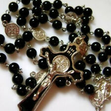 * Black Natural Agate BEAD St.Benedict ROSARY & CROSS NECKLACE CRUCIFIX CATHOLIC