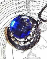 "SILVER MOON BLUE ""CRYSTAL"" crescent lunar celestial necklace pendant pewtery E2"