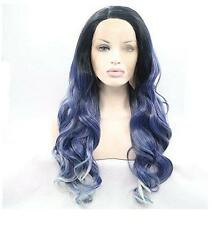 No LACE Wig Fashion Wigs Heat Cosplay Wavy Curly Body WAVE Anime Blue Mixed hair