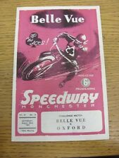 22/08/1964 Speedway Programme: Belle Vue v Oxford [Challenge Match] (Results Not