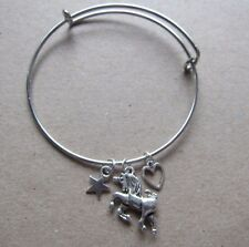 Girls Unicorn Cluster Star Heart Charm Bangle Bracelet New in Gift Bag