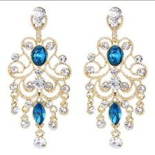 Austrian Crystal Gold & Blue Chandelier Earrings Bridal Wedding Bridesmaid