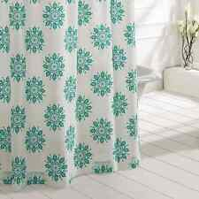 MARIPOSA Turquoise Shower Curtain Creme/green Medallion Cotton Cottage Chic