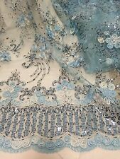 """BLUE/SILVER METALLIC EMBROIDERY SEQUIN MESH LACE FABRIC 50"""" WiIDE 1 YD"""