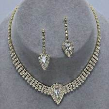 Sparkly diamante choker necklace set gold tone rhinestone bridal prom party 0406