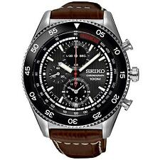 SEIKO MEN'S 44MM BROWN SYNTHETIC LEATHER BAND STEEL CASE QUARTZ WATCH SNDG57P2