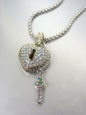 STUNNING Silver Cable Gold Pave CZ Crystals Heart & Key Pendant Necklace
