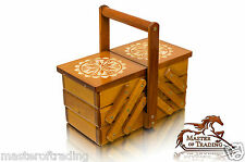 Great 23cm Decorated Brown Wooden Handcrafted Sewing Jewellery Box