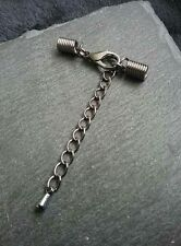 6 Sets Gunmetal Grey 14mm Clasp & Coil Crimp Ends for 3mm to 3.5mm Cord & Chain
