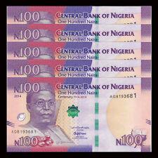 Lot 5 PCS, Nigeria 100 Naira, 2014, P-NEW, UNC COMM.