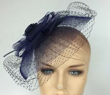 Navy Blue Sexy Cocktail Birdcage Veil Formal Fascinator Large Bow Flower Top EUC