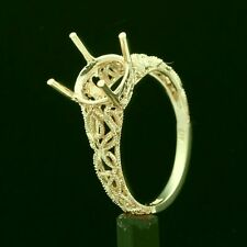 8MM ROUND SOLID 10K YELLOW GOLD AULIC FILIGREE SEMI MOUNT RING SETTING
