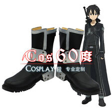 Sword art online Kirito Black PU Leather Cosplay Boots Shoes S008