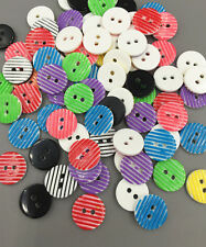 100pcs DIY Resin Buttons Mixed color Sewing Scrapbooking Crafts stripe 13mm