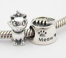 MY LOVELY CAT 2 CHARMS Beads SET Sterling Silver .925 for European Bracelet