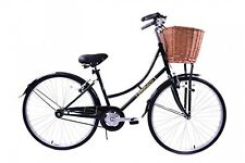 "HERITAGE DUTCH STYLE LADIES BIKE WICKER BASKET TRADITIONAL GREEN 16"" FRAME"