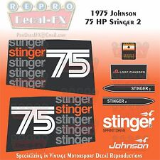 1975 Johnson 75HP Stinger 2 Outboard Repro 10Pc Vinyl Decals Two Loop Charged
