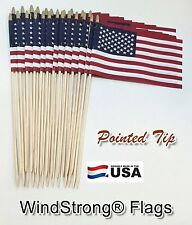 Lot of -24- 8x12 US AMERICAN GRAVEMARKER YARD STICK FLAGS POINTED BOTTOM DOWELS