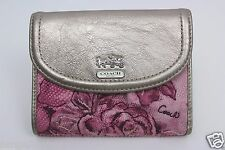 Coach Madison Maggie Rose Floral Pink Wallet Compact Clutch NEW