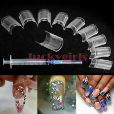 Boxed 100Pcs Aquarium Nails AQUA Clear False Nail Art Tips With Syringe injector