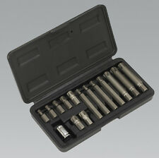 "Siegen S0871 Ribe Bit & Holder Set 15pc - 3/8""Sq Drive"
