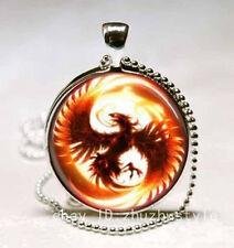 Vintage Phoenix Cabochon Glass Necklace Pendant with Ball Chain Necklace #4