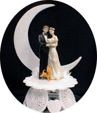 Cute Chihuahua dog Bride Groom Wedding Cake Topper top puppy pet Moonlight funny