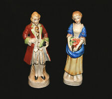 "Vintage OCCUPIED JAPAN China Porcelain Pair Of Colonial Figurines - 8 1/4"" H"