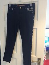 Womens Black Skinny Ankle Grazer Jeans With Gold Stud Detail Size 12