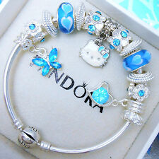 Authentic Pandora Silver Bangle Bracelet With Hello Kitty European Charms.