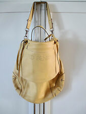 TED BENSON women'leather purse satchel tote HOBO book bag OVERSIZE butter yellow