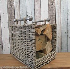 LIGHT WILLOW LOG BASKET WITH CHROME HANDLES OPEN FRONTED MODERN DESIGN