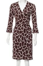 NWT $398 DIANE VON FURSTENBERG DVF New Julian Two Mini Brown Wrap Dress - Sz 12