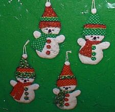 Set of 4 CALICO SNOWMEN 3-D Stuffed Ornament Sewing Embroidery Kit Christmas