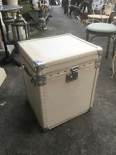 Leather trunk  English leather travel trunk side table box. white ivory trunk