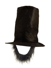 Adults Abraham Lincoln American President Fancy Dress Top Hat With Black Beard