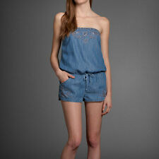 NWT Abercrombie & Fitch Women's Blake Romper Denim Chambray embroidery M/L  new