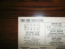 1965 Ford Thunderbird Series Models 390 CI V8 SUN Tune Up Chart Great Condition!