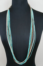 "NEW Chan Luu Turquoise Gold White Seed Bead 39"" Long Short Multi Strand Necklace"
